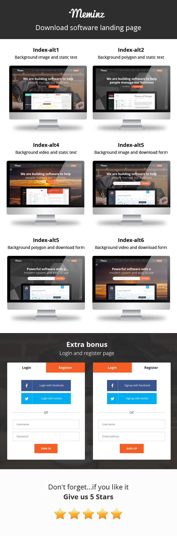 Meminz - Download Software Landing Page Theme